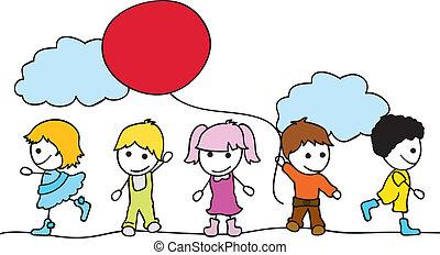 children background - happy little children background with...