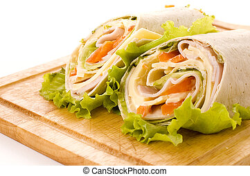 sandwich wrap with ham and paprika