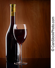 Red wine Glass and Bottle - Red wine glass and bottle on a...