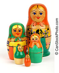 Russian dolls - 5 Russian dolls on a white bagground