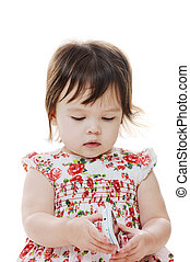 Toddler and mobilephone - Young infant girl looking at...