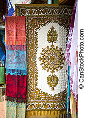 tibetan national shawls in Dharamsala, India - tibetan...