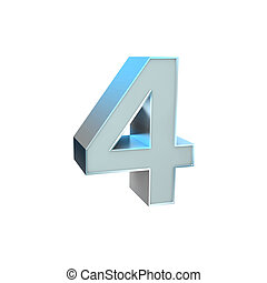 Number 4 - 3D Illustration of Silver ABC Character...