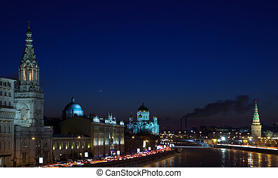 Moscow in winter night Russia - Kind to the Moscow Kremlin...