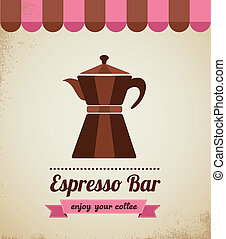 Espresso bar vinatge poster with macchinetta - Espresso bar...