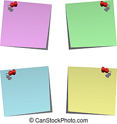Set of blank post-it notes with push pins, vector...