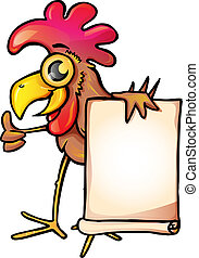 Chicken with banner - A funny cartoon chicken holding a...
