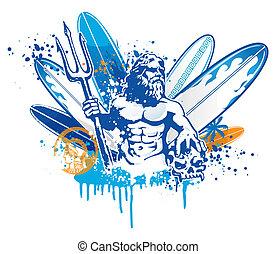 Poseidon, surfer