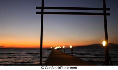 Pontoon at sunset