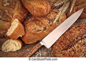 panes, selección, cuchillo,  bread