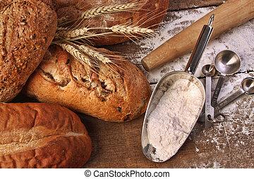 panes, harina, surtido,  bread