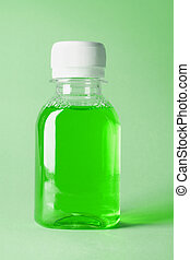 Bottle Of Mouthwash - Plastic Bottle Of Green Mouthwash On...