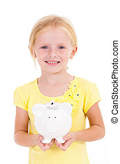 cute little girl with piggybank isolated on white