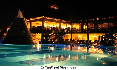 Luxurious holiday resort at night