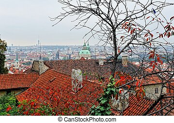 Autumn Prague. Roofs in old town.