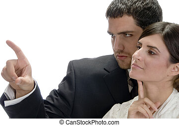 portrait of business couple on an isolated white background