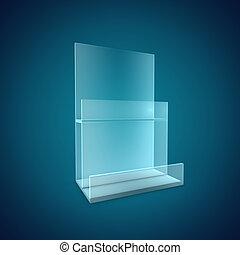 Blank Brochure Glass Holder - 3D Illustration of Blank...