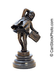Antique bronze figurine of the girl with bag. Isolated...