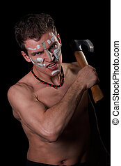 The aggressive white man with an axe in hands, a fighting...