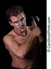 a, agressivo, branca, homem, (POPOV, DMITRY), machado,...