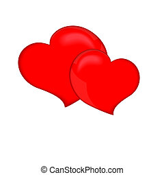 Two red heart, isolated on white