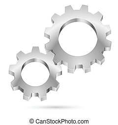 Chrome gearwheel isolated on white background for design