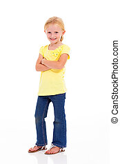 cute little girl full length portrait on white background