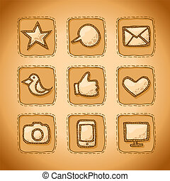 Social Hand Drawn Icons Set