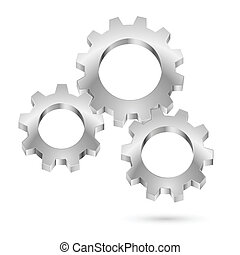 Chrome gearwheel Illustration on white background for design...
