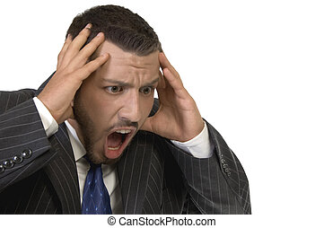 businessman shouting in tension