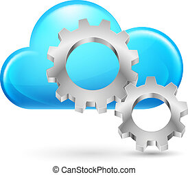 Cloud with gearwheel - Cloud with Gearwheel Illustration on...