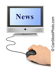 Hand with mouse and News