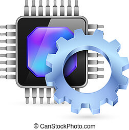 Gearwheel with processor Illustration on white background...