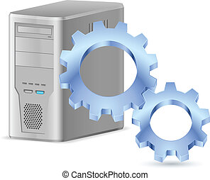 Gearwheel with computer. Illustration on white background...