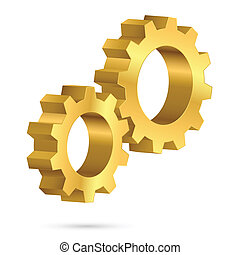Golden gearwheel Illustration on white background for design...