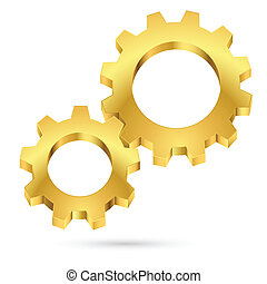 Golden gearwheel Illustration on white background