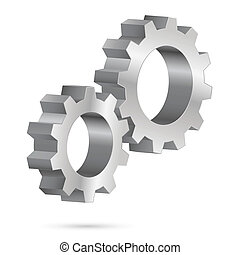 Chrome gearwheel - Two chrome gearwheel. Illustration on...