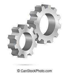 Chrome gearwheel - Two chrome gearwheel. Illustration on...