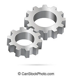 Chrome gearwheel - Two chrome gearwheel isolated on white...