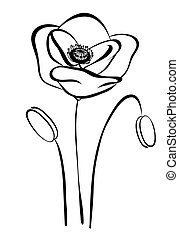simple silhouette black and white poppy. Abstract flower...