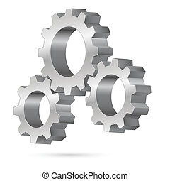 Chrome gearwheel - Chrome gearwheel. Illustration on white...