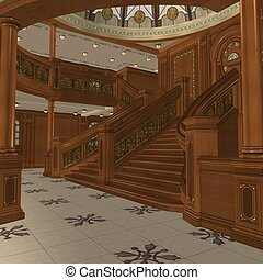 Grand Staircase - 3D Render of an Grand Staircase