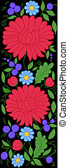 beautiful pattern of flowers, leaves and buds on a black background. Can be used as a design element for the edging