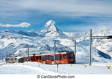 Gornergratbahn train with Matterhorn in background -...