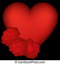 heart decorated with roses on a black background