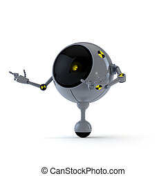 Robot Point Side - 3D Illustration Robot Point Side with...