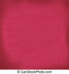 Red rose with stitch style on fabric background