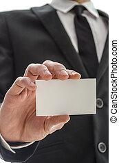 Blank visiting card - Business man showing blank visiting...