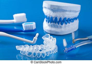 individuo, diente, bandeja, tiza, Cepillos de dientes