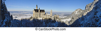 castle Neuschwanstein - landmark castle Neuschwanstein in...